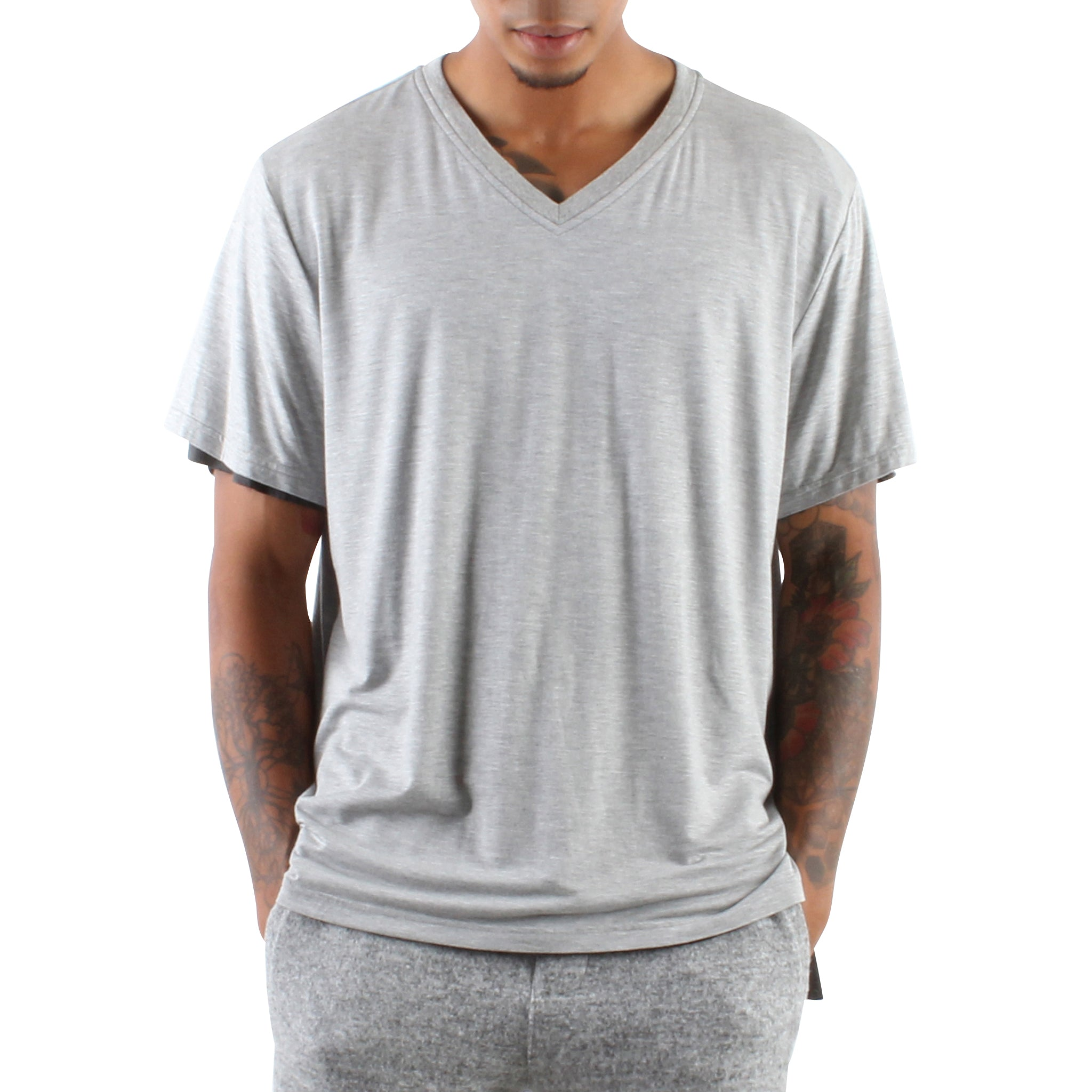 GREY AND CHARCOAL DOUBLE LAYER V-NECK TEE
