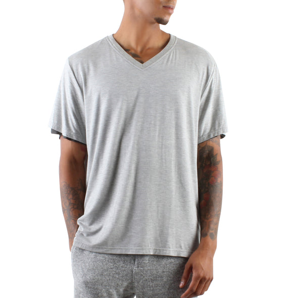 DOUBLE LAYER V-NECK TEE - GREY/CHARCOAL