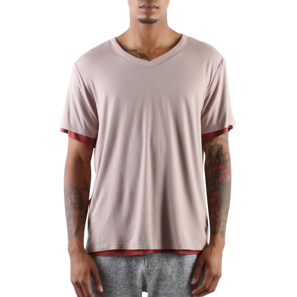 DOUBLE LAYER V-NECK TEE - TAUPE/RUST