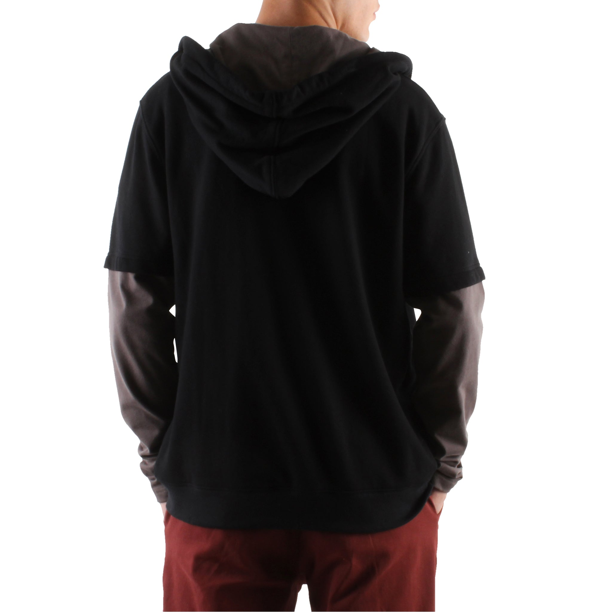 DOUBLE LAYERED BLACK HOODIE
