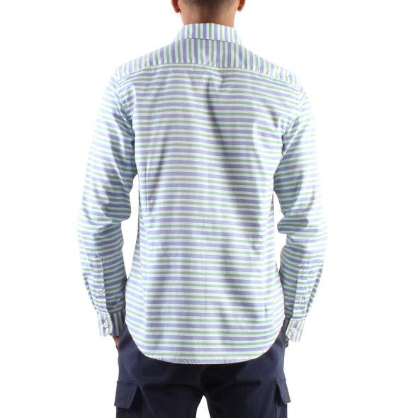 BLUE AND MINT STRIPE SHIRT