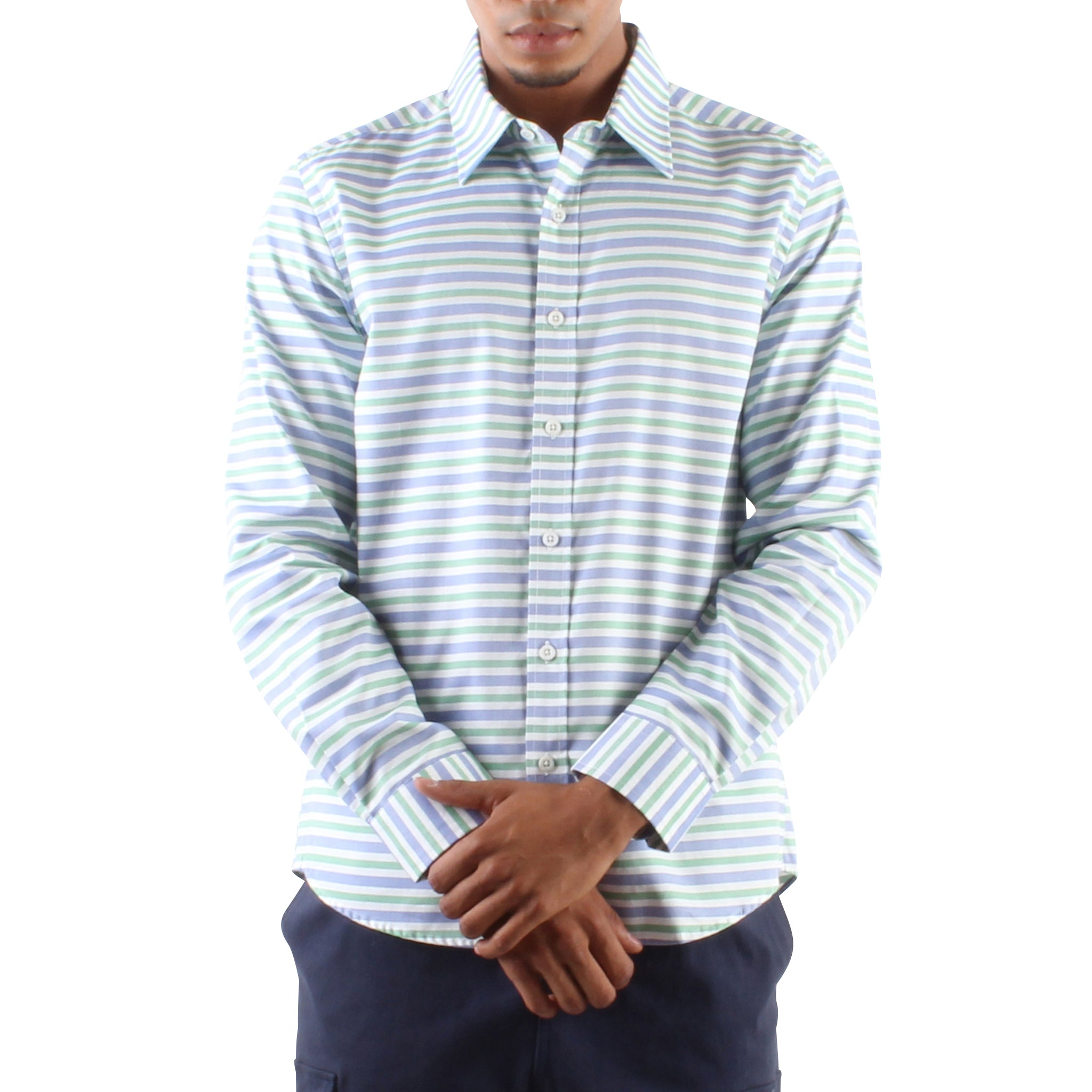 Blue And Mint Stripe Shirt Hyden Yoo
