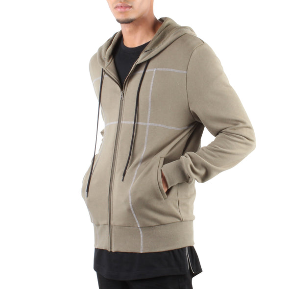 MILITARY GREEN HOODIE WITH CONTRAST STITCHING