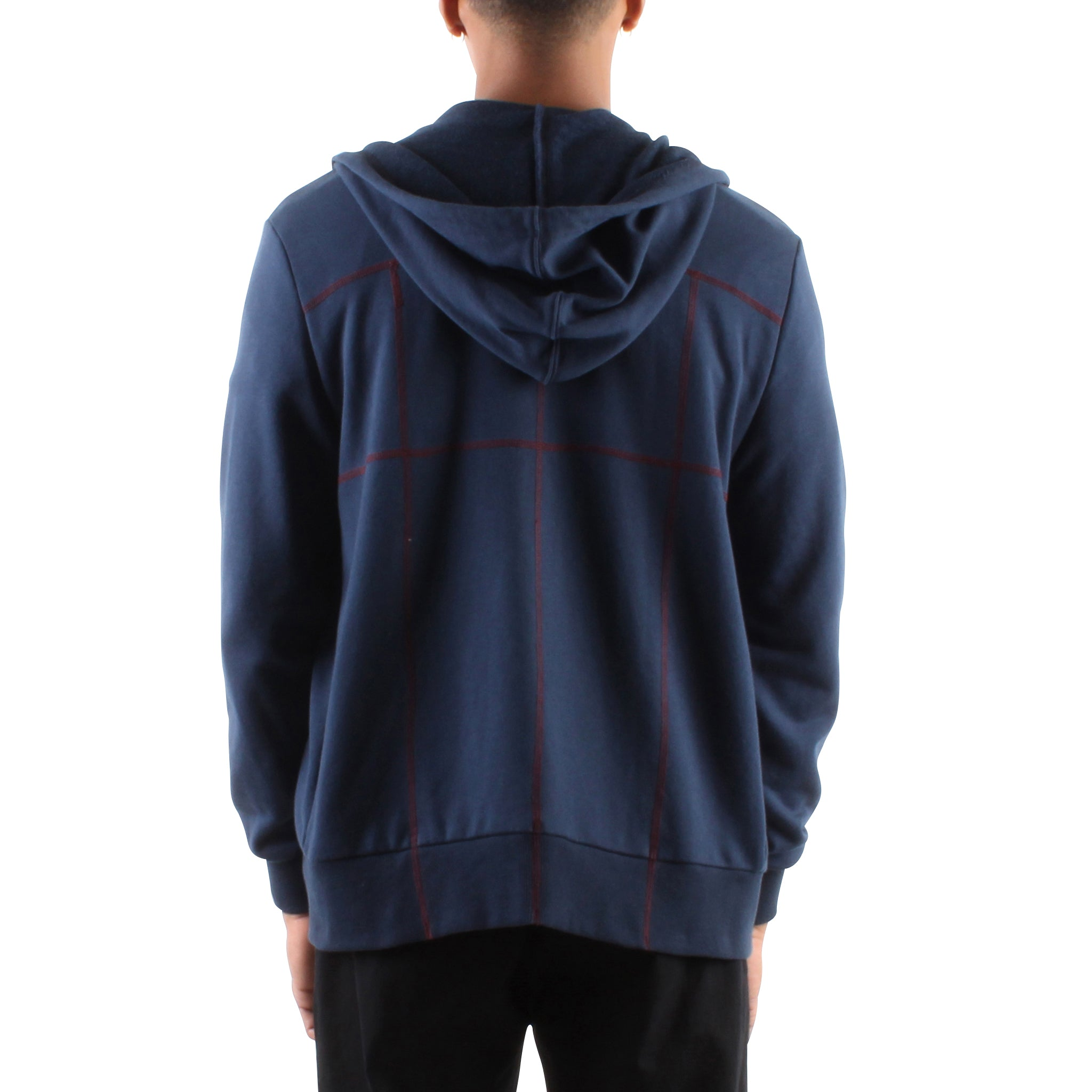 NAVY HOODIE WITH CONTRAST STITCHING