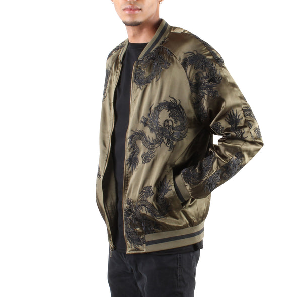 OLIVE/BLACK ALL OVER DRAGON SOUVENIR JACKET
