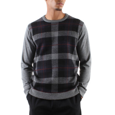 PLAID CREWNECK SWEATER