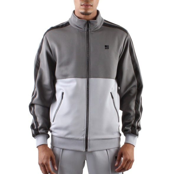 CHARCOAL AND GREY ZIP FRONT TRACK JACKET