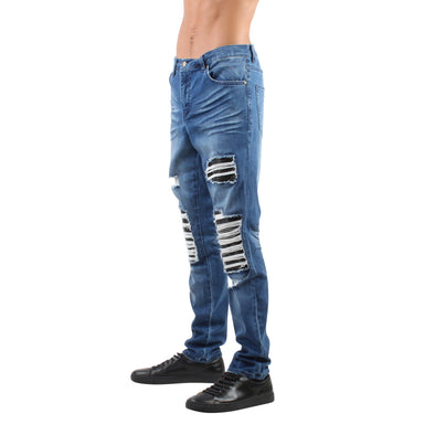 DESTROYED MOTO PATCH JEAN INDIGO