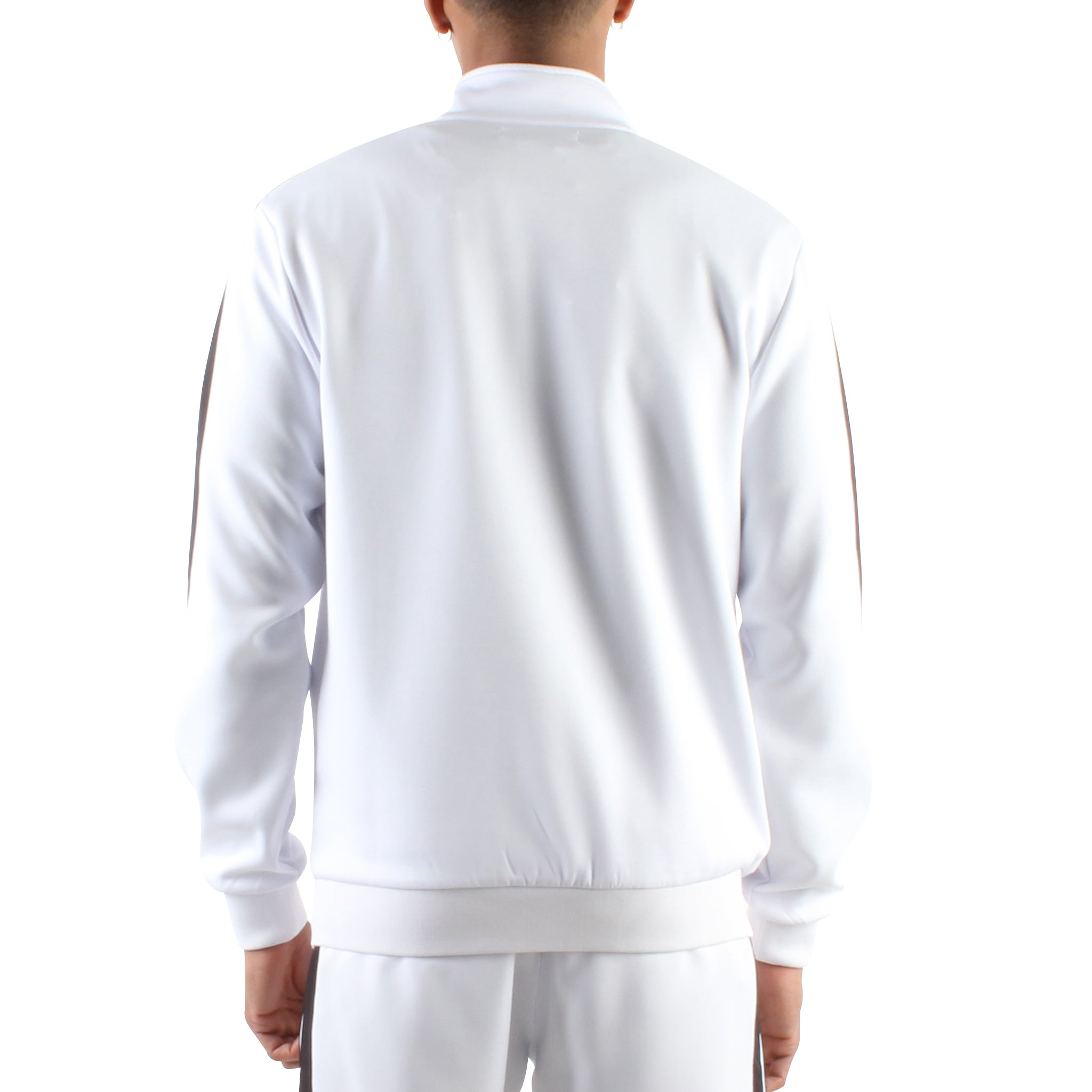 WHITE ZIP FRONT TRACK JACKET