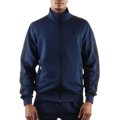 NAVY ZIP FRONT TRACK JACKET