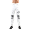 DESTROYED MOTO PATCH JEAN WHITE