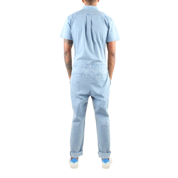 SHORT SLEEVE LIGHT BLUE JUMPSUIT