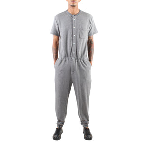 SHORT SLEEVE GREY TERRY JUMPSUIT