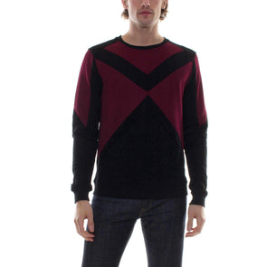 GEOMETRIC COLOR BLOCK CREWNECK - BLACK/MAROON