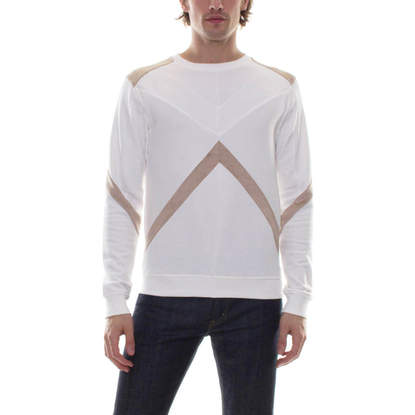 GEOMETRIC COLOR BLOCK CREWNECK - KHAKI/WHITE
