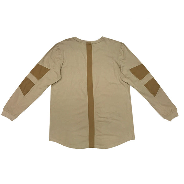FAUX SUEDE DETAIL LONG SLEEVE SHIRT - KHAKI