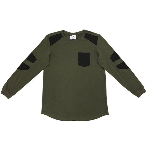 FAUX SUEDE DETAIL LONG SLEEVE SHIRT - MILITARY GREEN