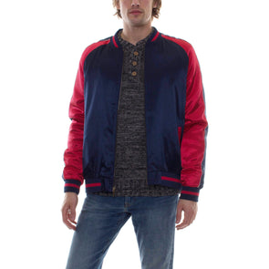 NO EMBROIDERY SOUVENIR JACKET - NAVY/RED