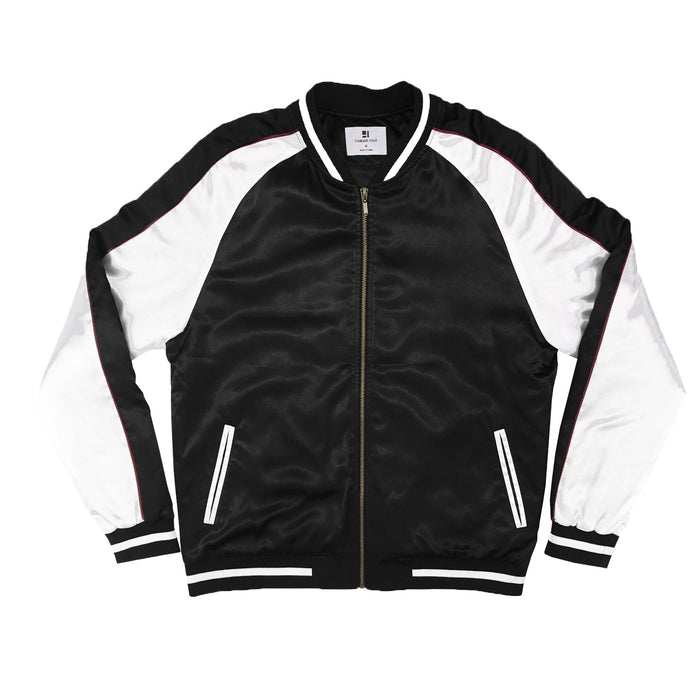 Solid Color Block Jacket - Black/White