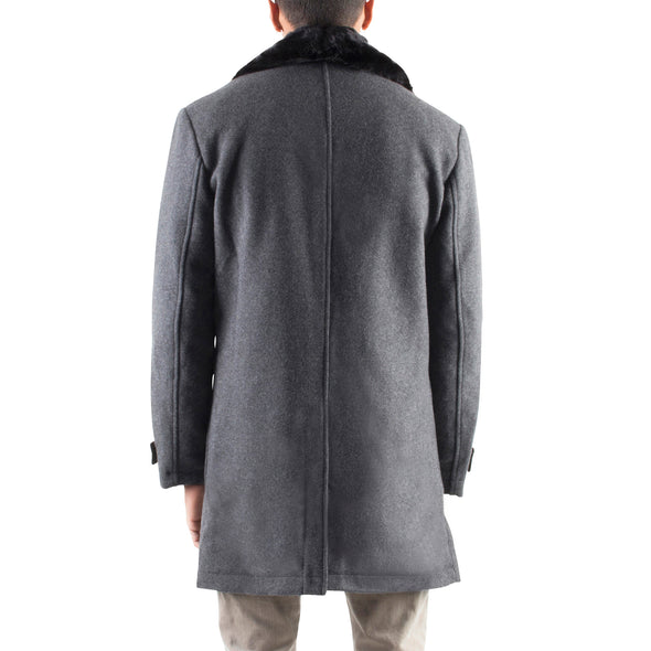 GREY WOOL COAT WITH REMOVABLE FAUX-FUR COLLAR