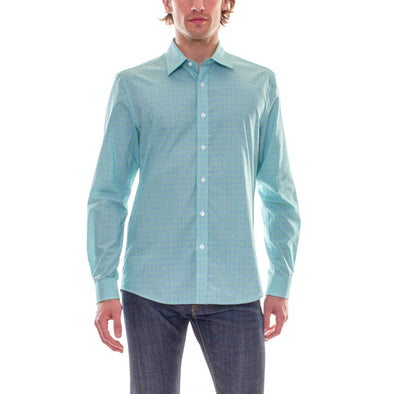 GREEN/BLUE PLAID DRESS SHIRT
