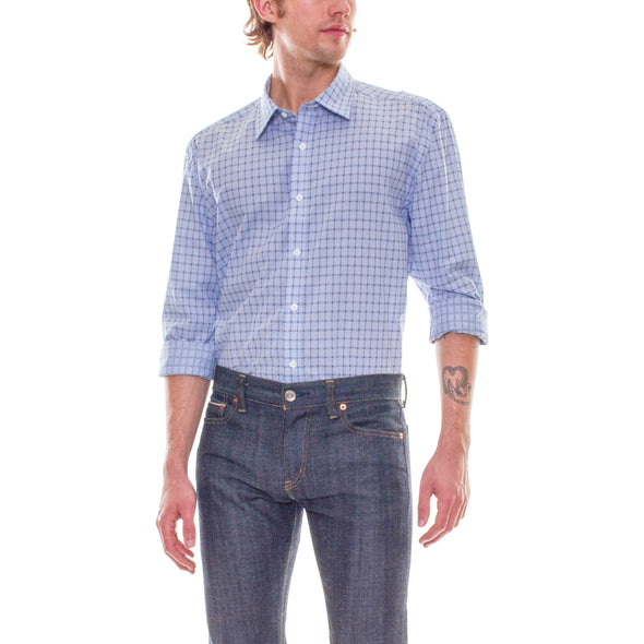LIGHT BLUE/NAVY PLAID DRESS SHIRT