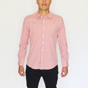 PLAID DRESS SHIRT - RUST