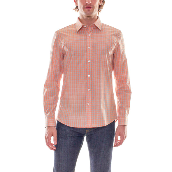 SALMON PLAID DRESS SHIRT