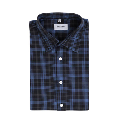 THOMPSON DRESS SHIRT - BLACK BLUE PLAID