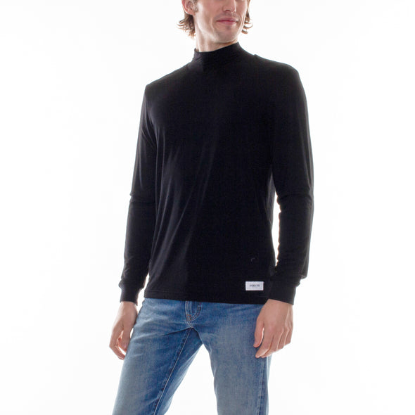 REVERSIBLE MOCK TURTLENECK - BLACK/CHARCOAL