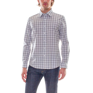 BLACK/WHITE PLAID DRESS SHIRT