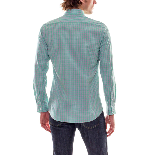 PLAID MINT DRESS SHIRT