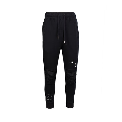 DESTROYED MOTO FRENCH TERRY JOGGERS BLACK