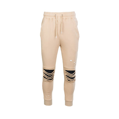 DESTROYED MOTO FRENCH TERRY JOGGERS GREY KHAKI