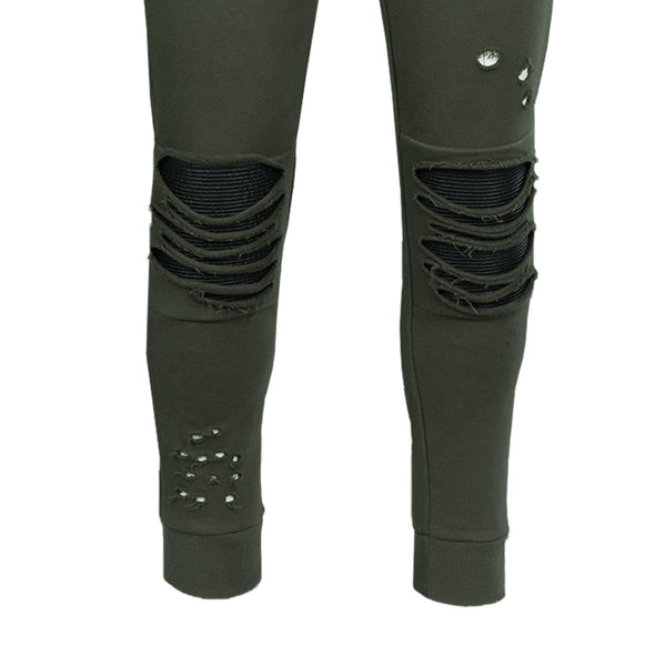 DESTROYED MOTO FRENCH TERRY JOGGERS MILITARY GREEN