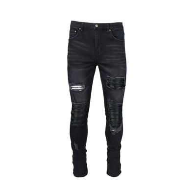 DESTROYED MOTO PATCH JEAN - BLACK