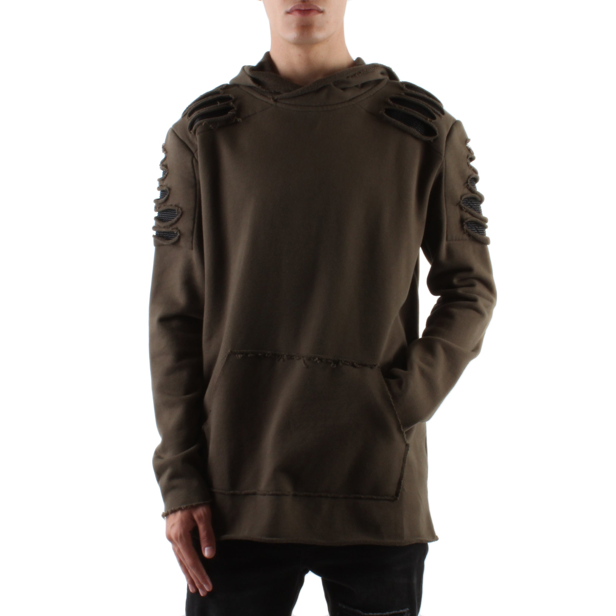 MILITARY GREEN DESTROYED PATCH FRENCH TERRY HOODIE