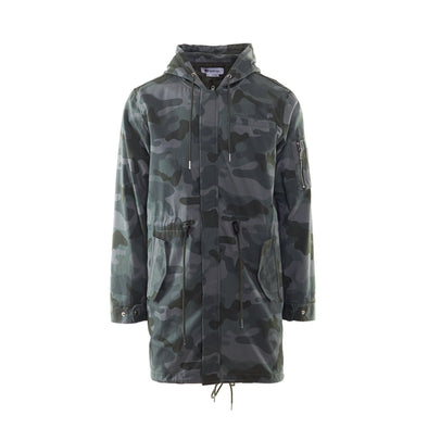 LONG MILITARY JACKET - GREEN CAMO