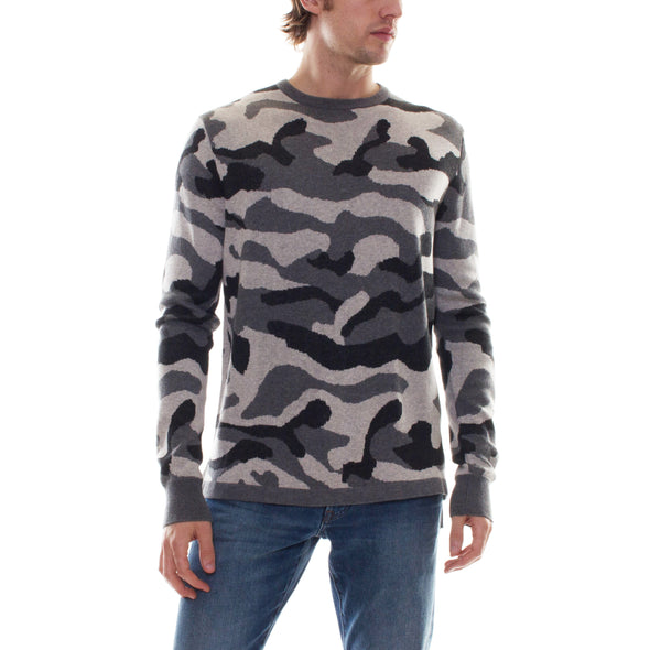 GREY CAMO SWEATER