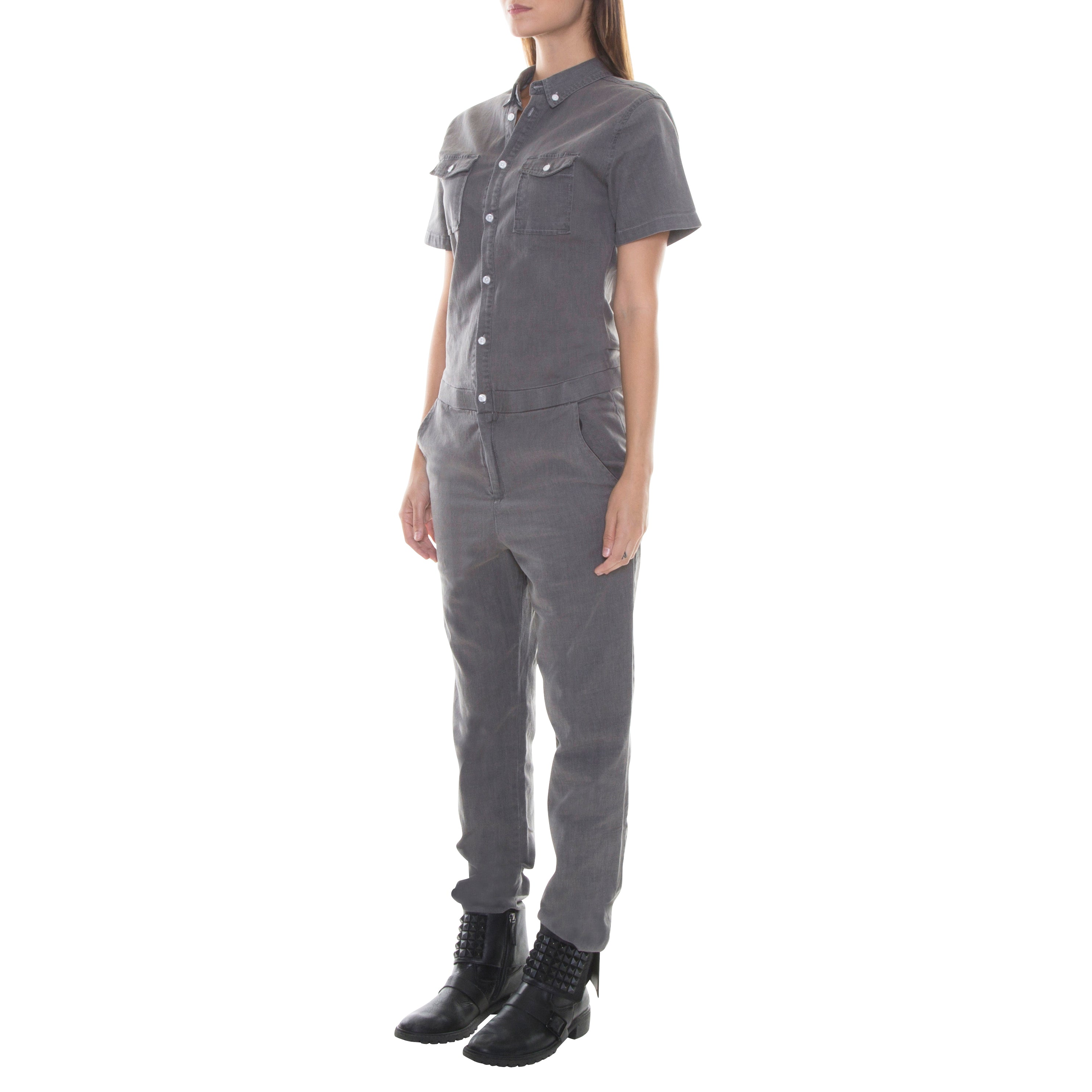 SHORT SLEEVE JUMPER DARK GREY CHAMBRAY