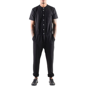 SHORT SLEEVE BLACK TERRY JUMPSUIT