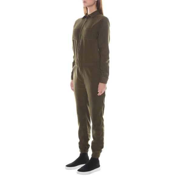 FULL ZIP MILITARY GREEN WOOL JUMPSUIT