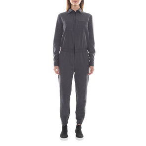 FULL ZIP CHARCOAL GREY WOOL JUMPSUIT
