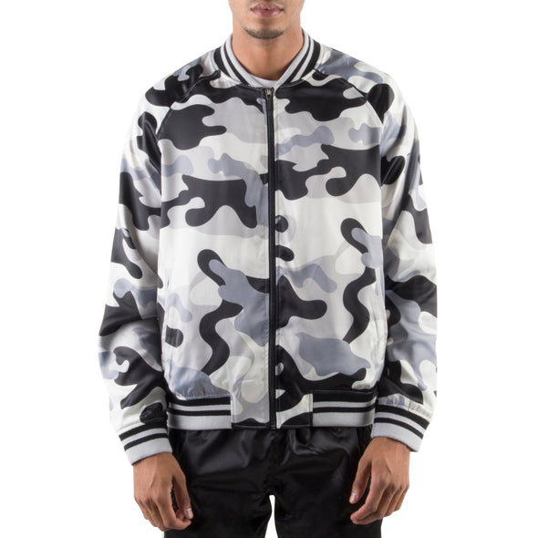 GREY CAMO LIGHT BOMBER JACKET
