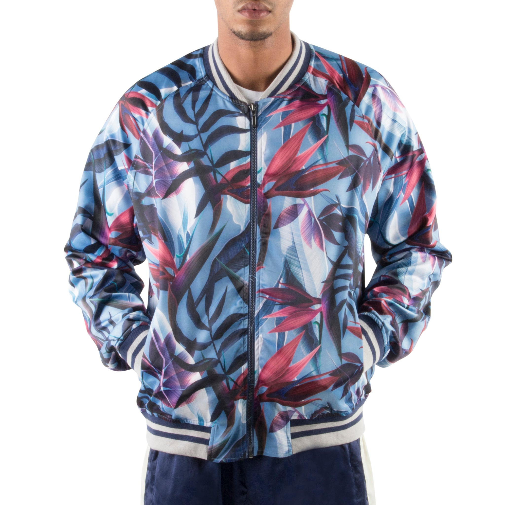 PURPLE FLORAL LIGHT BOMBER JACKET