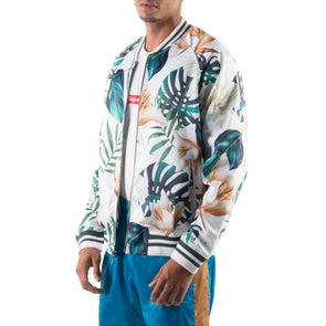 WHITE/GREEN LIGHT BOMBER JACKET