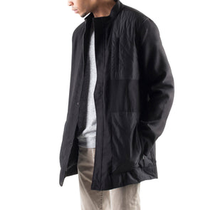 BLACK WOOL JACKET WITH NYLON QUILTING