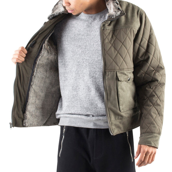 Bomber Jacket with Faux Fur Lining