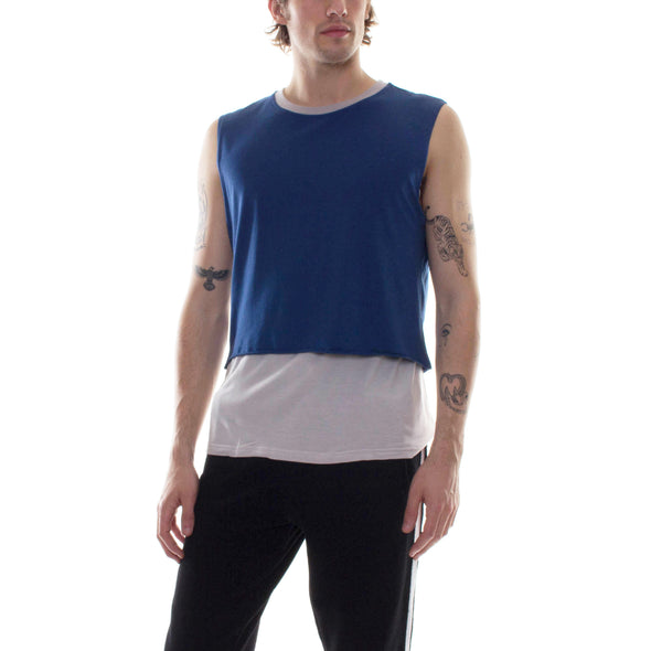 LAYERED SLEEVELESS SHIRT - GREY/NAVY