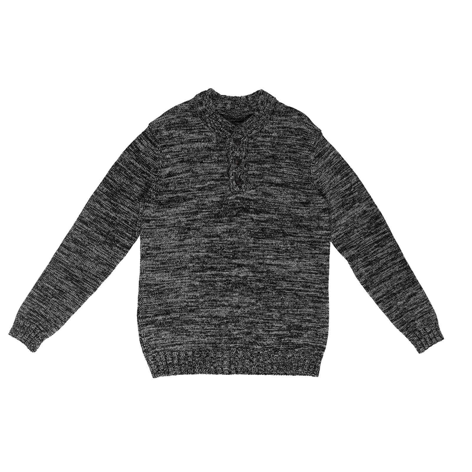 PULLOVER HENLEY SWEATER BLACK / GREY